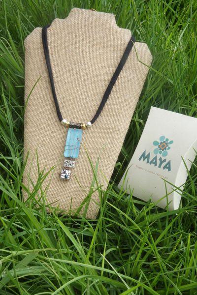 Celestial glass necklace copper blue murano fabric