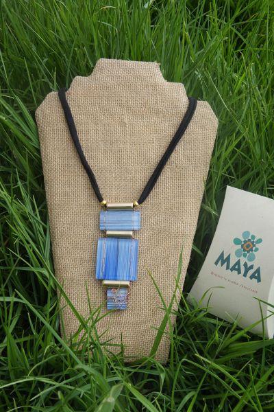Copper white blue line glass necklace