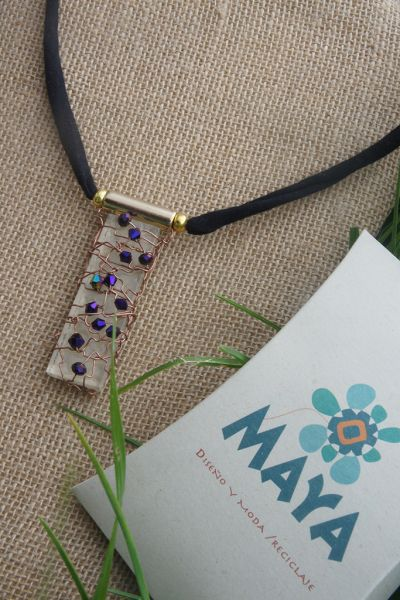 Violet Murano fabric glass necklace