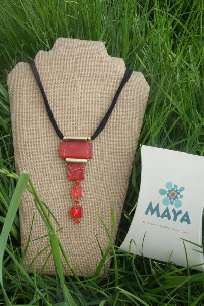 Red glass necklace fabric