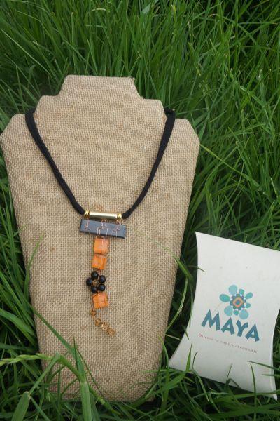 Orange black glass necklace yellow black Murano fabric