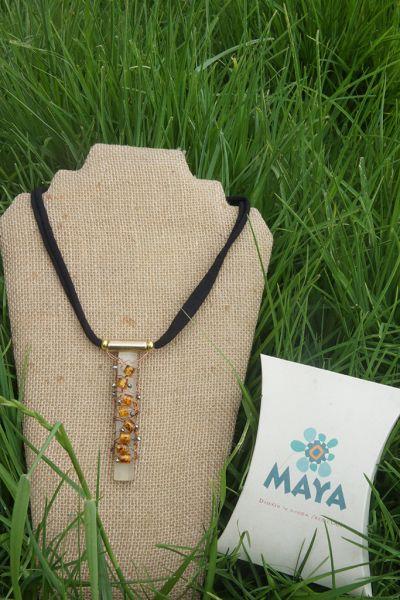 Yellow Murano fabric glass necklace