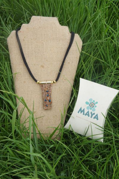 Light brown glass necklace blue murano fabric