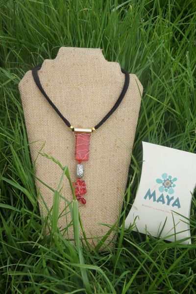 Red glass necklace copper red murano fabric