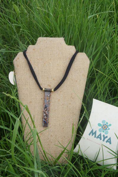 Blue Murano fabric coffee glass necklace